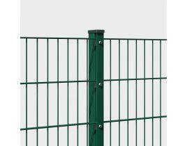 Rechteckrohrpfosten mit Profilschiene, grün, mit angeschweißter Bodenplatte, Länge 1885mm für Zaunhöhe 1830mm