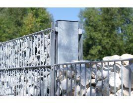 Gabionenpfosten mit Profilschiene, Tiefe 140mm, verzinkt, zum Einbetonieren, Länge 2200mm für Zaunhöhe 1600mm