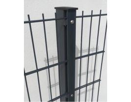 Rechteckrohrpfosten mit Profilschiene, anthrazit, zum Einbetonieren, Länge 2000mm für Zaunhöhe 1400mm