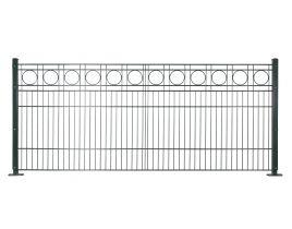 Dekormattenzaun,Typ Rondell, Gr. 2464 x1009 mm (Breite x Höhe), Ausführung mit Oberbogen, feuerverzinkt + RAL 6005 grün