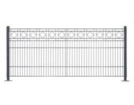 Dekormattenzaun,Typ Raute, Gr. 2464 x1209 mm (Breite x Höhe), Ausführung mit Oberbogen, feuerverzinkt + RAL 6005 grün