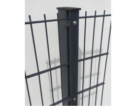 Rechteckrohrpfosten mit Profilschiene, anthrazit, zum Einbetonieren, Länge 2400mm für Zaunhöhe 1800mm