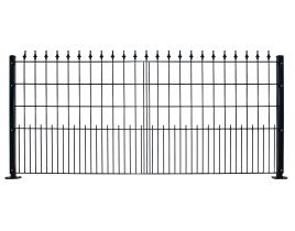 Dekormattenzaun,Typ Pyramide, Gr. 2418 x 909 mm (Breite x Höhe), Ausführung mit Oberbogen, feuerverzinkt + RAL 6005 grün