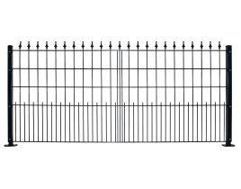 Dekormattenzaun,Typ Pyramide, Gr. 2418 x1309 mm (Breite x Höhe), Ausführung mit Oberbogen, feuerverzinkt + RAL 6005 grün