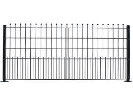 Dekormattenzaun,Typ Kugel, Gr. 2418 x 1089 mm (Breite x Höhe), Ausführung mit Oberbogen, feuerverzinkt + RAL 6005 grün