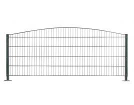 Dekormattenzaun,Typ Oberbogen, Gr. 2464 x1209 mm (Breite x Höhe), feuerverzinkt + RAL 6005 grün