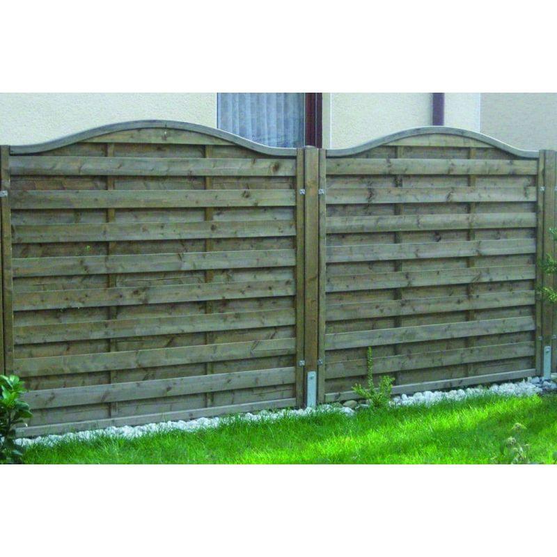 Massiv-Holzsichtschutz-Zaun mit Rundbogen aus Fichte, Gr. 180 x 150 – 135cm, KDS