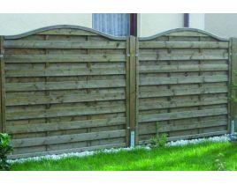 Massiv-Holzsichtschutz-Zaun mit Hochbogen aus Fichte, Gr. 180 x 165 – 150cm, braun imprägniert