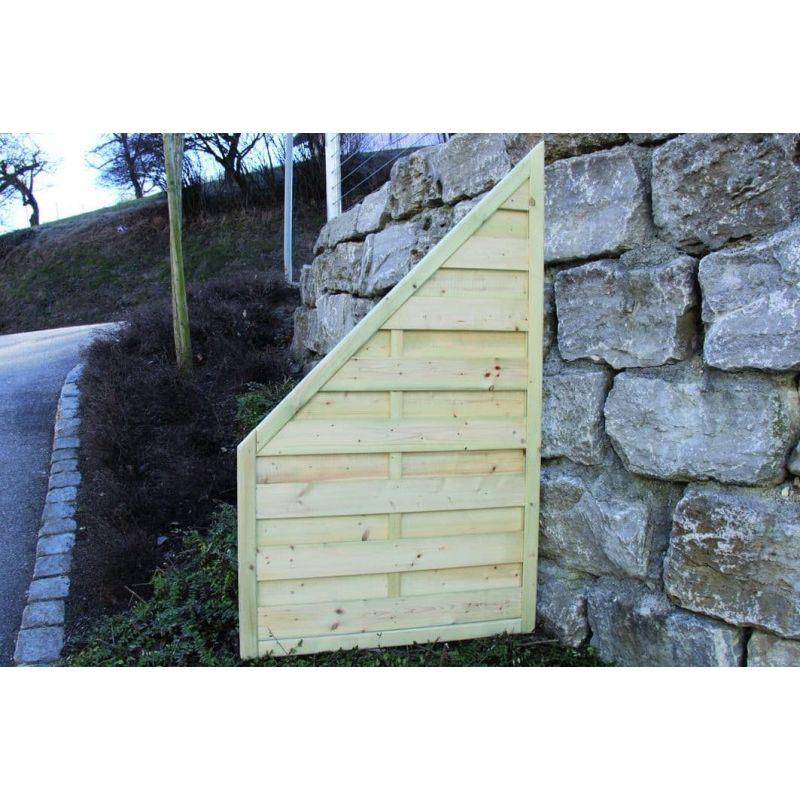 Massiv-Holzsichtschutz-Zaun Abschlusselement rechts / links aus Fichte, Gr. 90 x 135 – 90cm, braun imprägniert