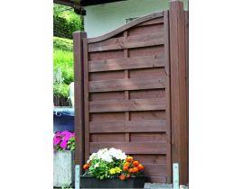 Massiv-Holzsichtschutz-Zaun Stufenelement rechts / links aus Fichte, Gr. 90 x 180 – 165cm, braun imprägniert