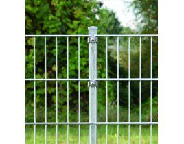 Pfosten mit Klemmplatten, verzinkt, zum Einbetonieren, Länge 2600mm für Zaunhöhe 2000mm