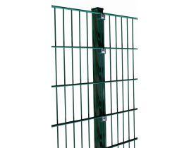 Pfosten mit Klemmplatten, grün, mit angeschweißter Bodenplatte, Länge 1485mm für Zaunhöhe 1400mm