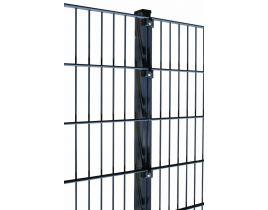 Rechteckrohrpfosten mit Klemmplatten, anthrazit, mit angeschweißter Bodenplatte, Länge 885mm für Zaunhöhe 800mm