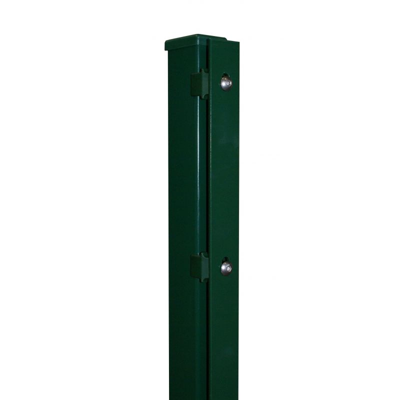 Rechteckrohrpfosten mit Flacheisen, grün, mit angeschweißter Bodenplatte, Länge 1285mm für Zaunhöhe 1200mm