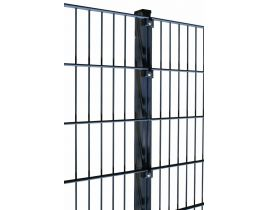 Rechteckrohrpfosten mit Klemmplatten light, anthrazit, zum Einbetonieren, Länge 2200mm für Zaunhöhe 1600mm