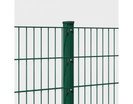 Doppelstabmattenzaun, feuerverzinkt + pulverb. RAL 6005 moosgrün, Gr. 2500 x 1600 mm, Typ 6/5/6