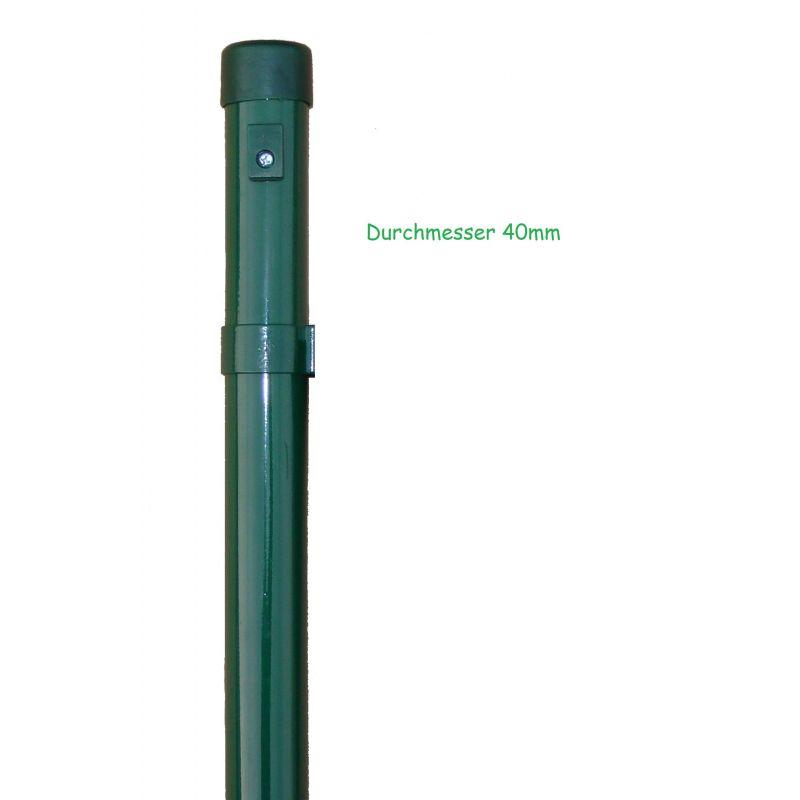 Zaunpfähle für Maschendraht, verzinkt, zum Einbetonieren, Industrieprogramm, Länge 2000mm für Zaunhöhe 1500mm, 42mm