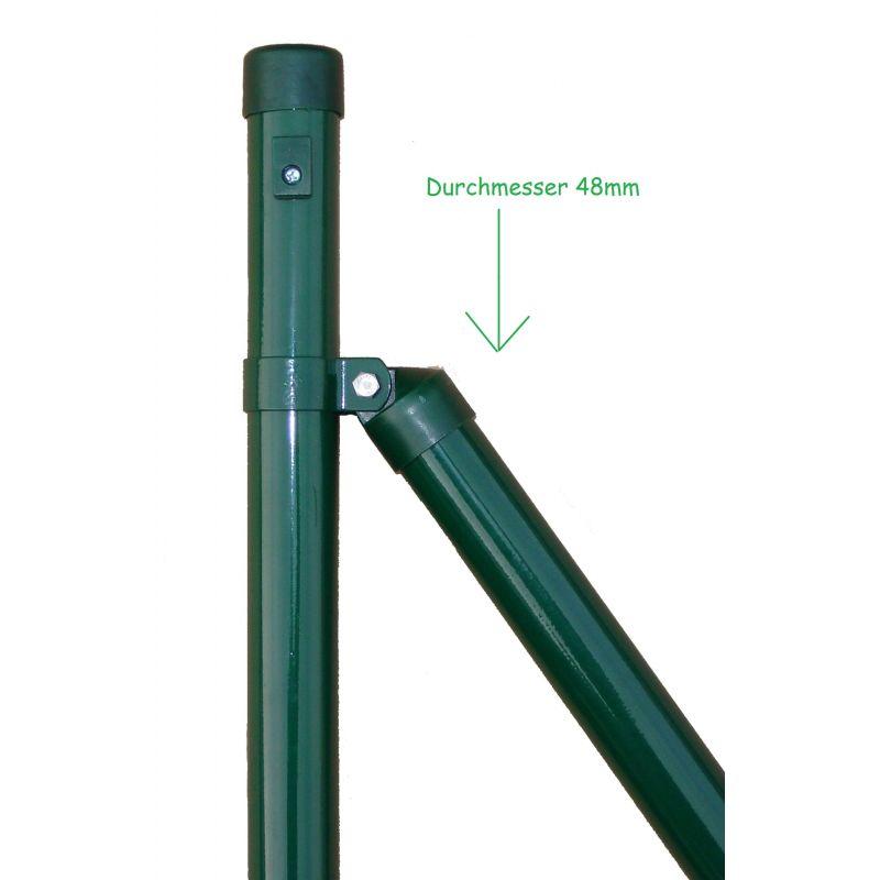 Zaunstrebe für Maschendraht, grün, zum Einbetonieren, Gartenprogramm, Länge 1750mm für Zaunhöhe 1250mm, 48mm