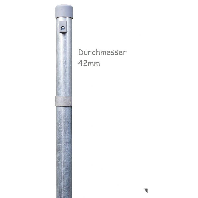 Zaunpfähle für Maschendraht, verzinkt, zum Einbetonieren, Industrieprogramm, Länge 1200mm für Zaunhöhe 800mm, 42mm