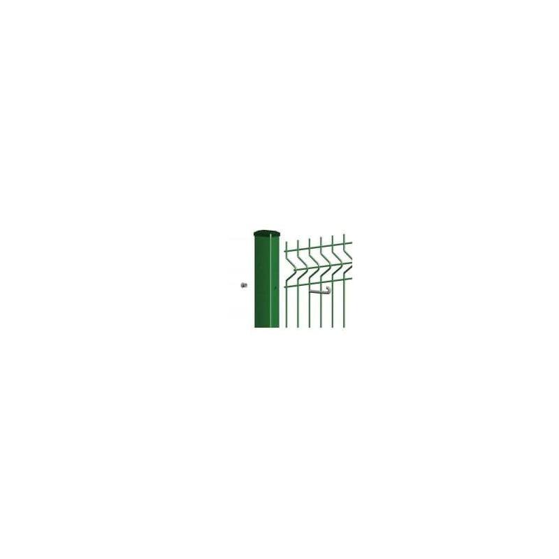 Rechteckrohrpfosten für Einstabmatten mit Hakenschraube, grün, zum Einbetonieren, Länge 2000mm für Zaunhöhe 1530mm