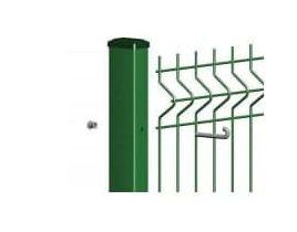 Rechteckrohrpfosten für Einstabmatten mit Hakenschraube, grün, zum Einbetonieren, Länge 2200mm für Zaunhöhe 1730mm