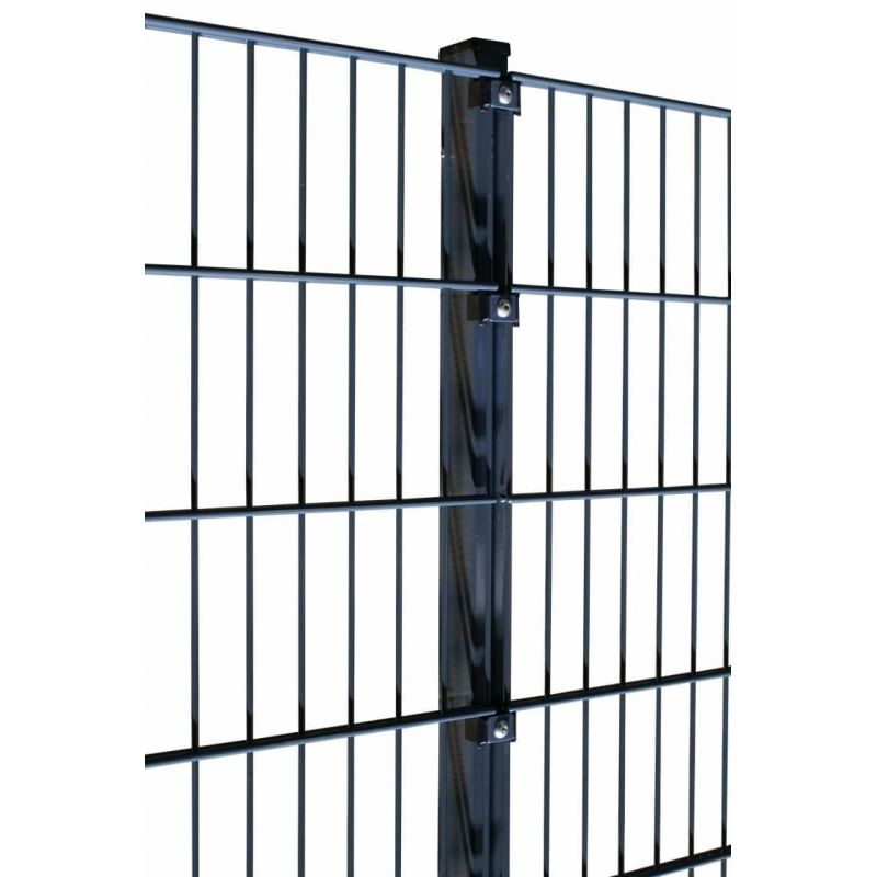 Rechteckrohrpfosten für Einstabmatten mit Klemmplatten, anthrazit, zum Einbetonieren, Länge 2200mm für Zaunhöhe 1730mm