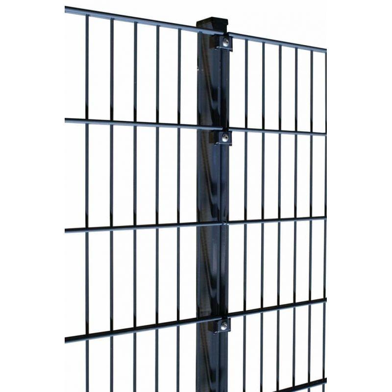 Rechteckrohrpfosten für Einstabmatten mit Klemmplatten, anthrazit, zum Einbetonieren, Länge 2500mm für Zaunhöhe 2030mm