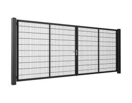 2-flg. Drehflügeltor light, Gr. 1600 x 3500mm (H x B), feuerverzinkt + RAL 6005 moosgrün